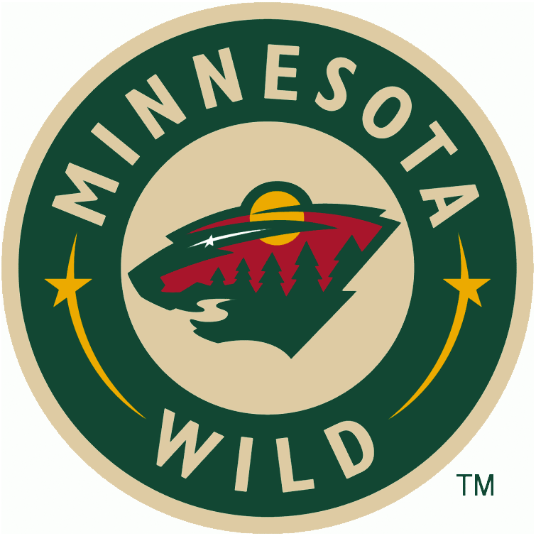 Minnesota Wild Logo Alternate Logo (2003/04-Pres) - The head of a black bear created using Minnesota-area scenery, green pine trees, a wheat coloured river, a red sky, yellow sun set and white shooting star inside a green and wheat circle featuring the team name.  Worn on the front of the Minnesota Wild alternate jersey which was ultimately promoted to home jersey SportsLogos.Net