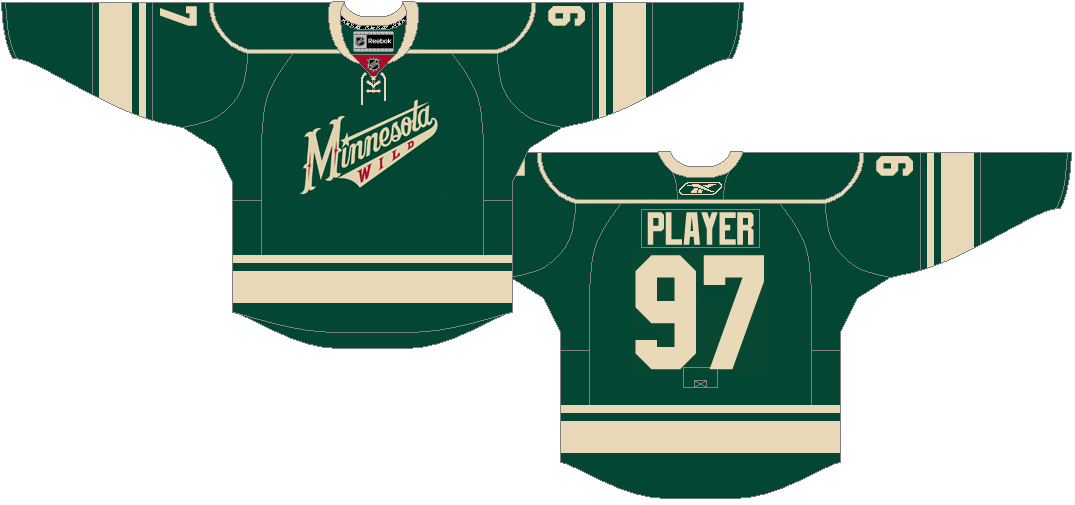 Minnesota Wild Uniform Alternate Uniform (2009/10-2016/17) - Green uniform with wheat stripes on shoulders and alternate wheat Wild script on front SportsLogos.Net