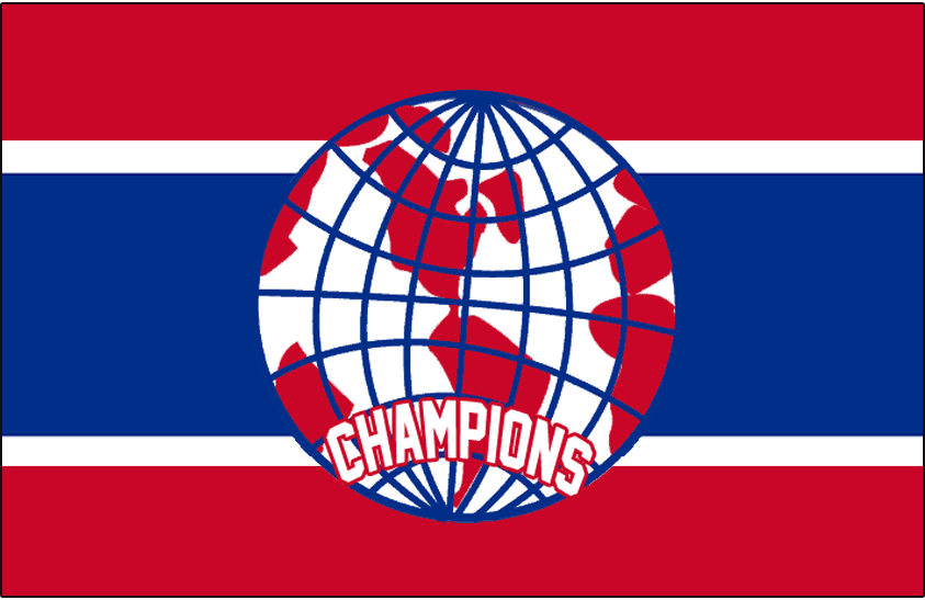Montreal Canadiens Logo Jersey Logo (1924/25) - A red, white, and blue globe on a Canadiens jersey background, worn on the front of the Montreal Canadiens jerseys during the 1924-25 season in recognition of their 1924 Stanley Cup Championship SportsLogos.Net
