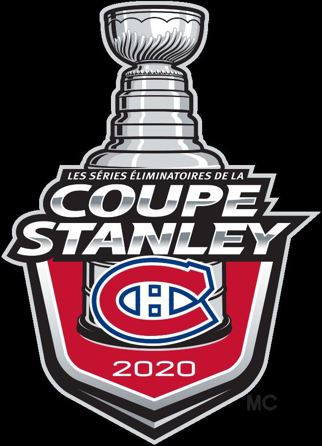 Montreal Canadiens Logo Event Logo (2019/20) - Le logo des éliminatoires de la Coupe Stanley 2020 des Canadiens de Montréal (version française) comprend l'emblème légendaire de l'équipe des Canadiens sur un bouclier rouge avec «LES SÉRIES ÉLIMINATOIRES DE LA COUPE STANLEY» en argent et «2020» en blanc. La moitié supérieure de la coupe Stanley est au-dessus du bouclier. Le logo est utilisé par les Canadiens de Montréal tout au long de leur participation aux éliminatoires de la Coupe Stanley 2020 de la LNH. SportsLogos.Net