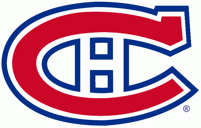 Montreal Canadiens Logo Primary Logo (1947/48-1955/56) - A red C outlined in white, and blue, with an H inside SportsLogos.Net