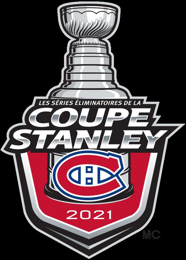 Montreal Canadiens Logo Event Logo (2020/21) - Le logo des les séries éliminatoires de la coupe Stanley 2021 des Canadiens de Montréal présente le célèbre logo CH sur un bouclier rouge avec COUPE STANLEY écrits ci-dessus en argent et 2021 ci-dessous en blanc. Une représentation de la moitié supérieure de la coupe Stanley est visible au-dessus du bouclier. Ce logo est utilisé par les Canadiens sur divers documents en français tout au long de leur participation aux les séries éliminatoires de la Coupe Stanley 2021 de la LNH. French language version of the Canadiens 2021 Stanley Cup Playoffs logo. SportsLogos.Net