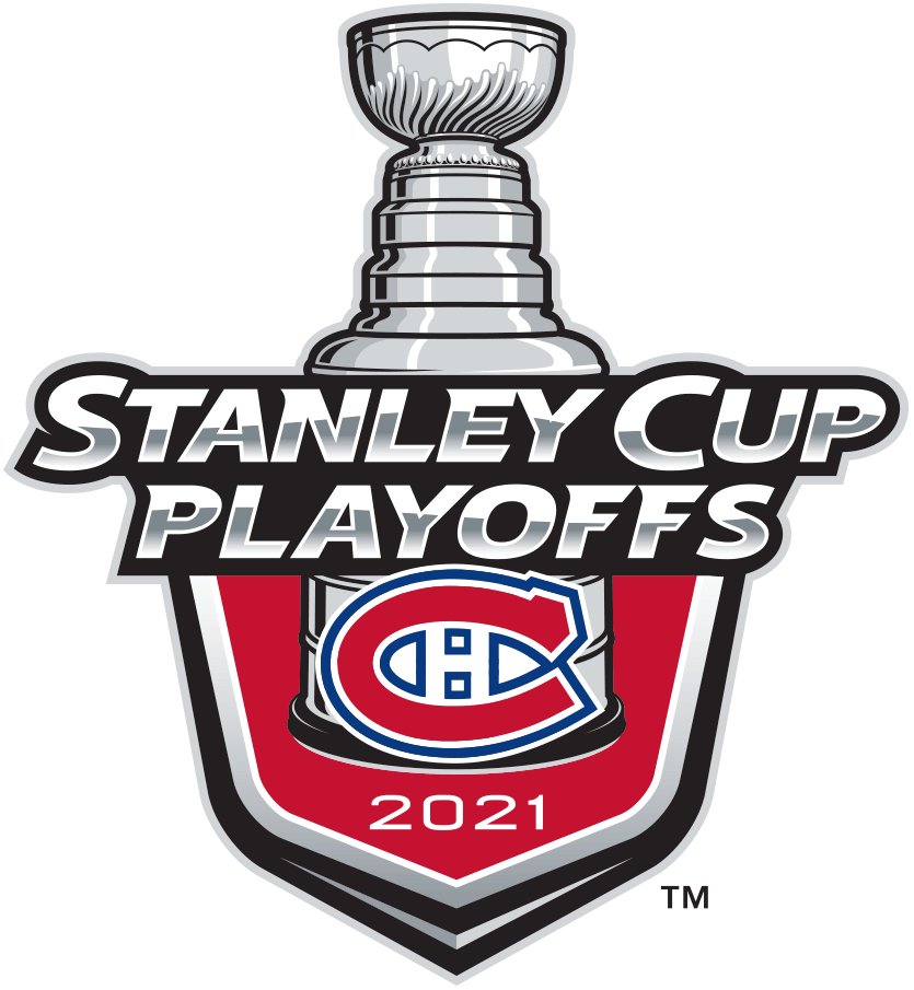 Montreal Canadiens Logo Event Logo (2020/21) - The Montreal Canadiens 2021 Stanley Cup Playoffs logo features the Habs famous CH logo on a red shield with STANLEY CUP PLAYOFFS written above in silver and 2021 below in white. A depiction of the top-half of the Stanley Cup can be seen above the shield. This logo is used by the Canadiens on various English-language materials throughout their participation in the 2021 NHL Stanley Cup Playoffs. SportsLogos.Net