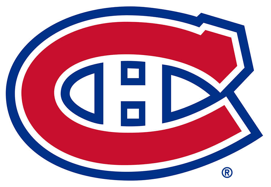 Montreal Canadiens Logo Primary Logo (1956/57-1998/99) - A red C outlined in white, and blue, with an H inside, shades of red and blue darkened for the 1999-2000 season SportsLogos.Net
