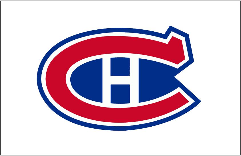 Montreal Canadiens Logo Jersey Logo (1935/36-1943/44) - Red C with white H and blue filling, worn on front of Montreal Canadiens white clash jerseys from 1935-36 until 1943-44 SportsLogos.Net