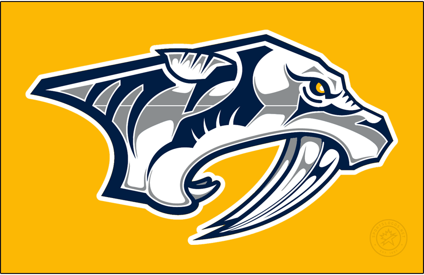 Nashville Predators Logo Jersey Logo (2020/21-Pres) - The Nashville Predators Reverse Retro logo, a throwback to the 1998 season and the original Preds design. The logo is the Predators logo of 1998 but now recoloured to mostly match the modern Preds colour scheme of gold and blue. This logo will be worn on a gold jersey. SportsLogos.Net