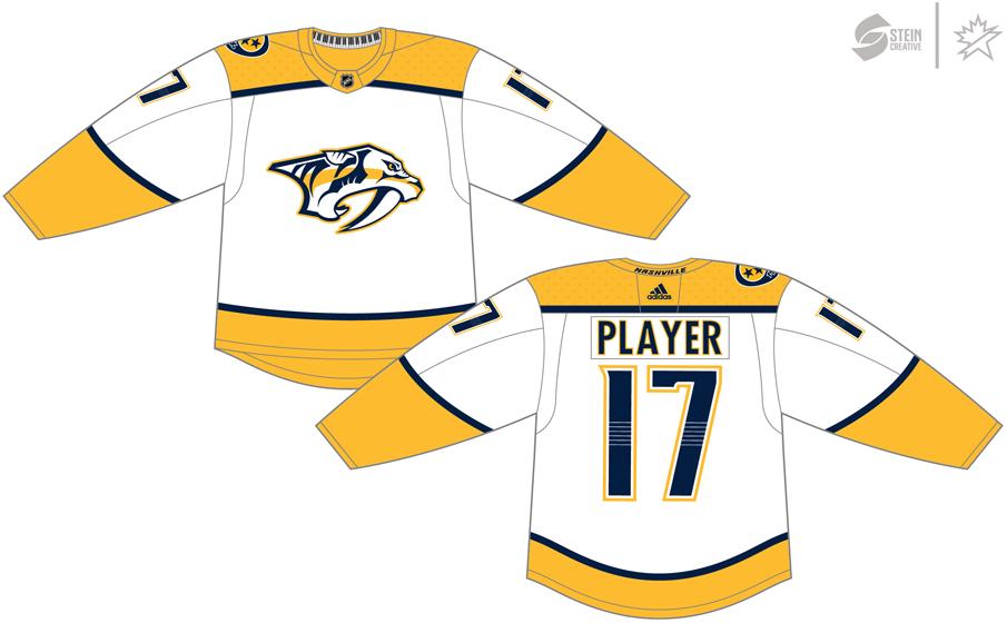 Nashville Predators Uniform Light Uniform (2017/18-Pres) - Adidas Jersey SportsLogos.Net
