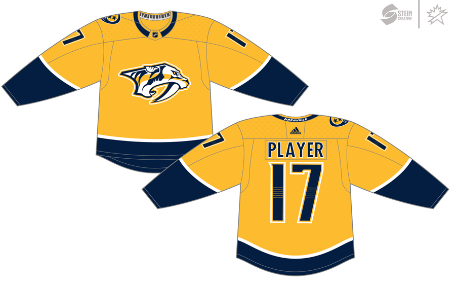 Nashville Predators Uniform Dark Uniform (2017/18-Pres) - Adidas Jersey SportsLogos.Net