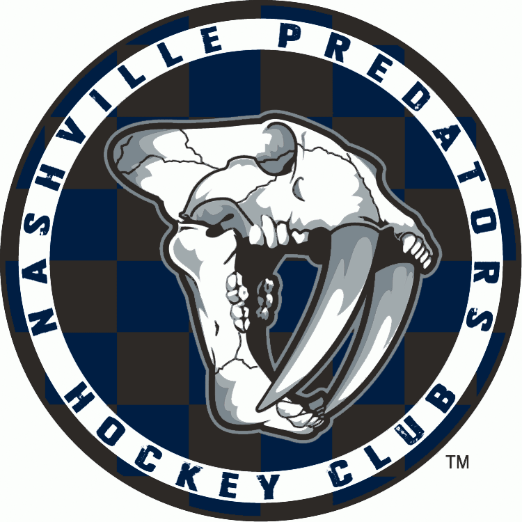 Nashville Predators Logo Alternate Logo (2009/10-2010/11) - Fossilized sabre-toothed tiger head on blue and black checkered circle SportsLogos.Net