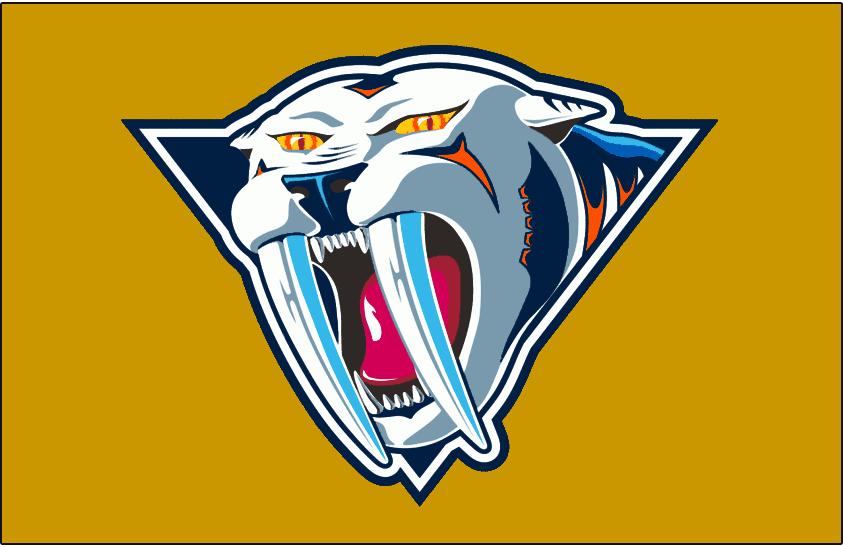 Nashville Predators Logo Jersey Logo (2001/02-2006/07) - Sabred-toothed Tiger head facing front, worn on the Nashville Predators mustard-yellow alternate jersey from 2001-02 until 2006-07 SportsLogos.Net
