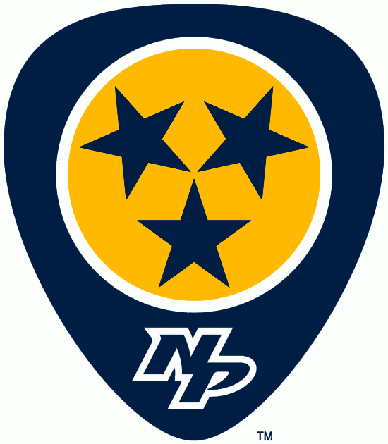 Nashville Predators Logo Alternate Logo (2011/12-Pres) - A blue guitar pick with a yellow circle and three-stars in the middle to represent State of Tennessee SportsLogos.Net