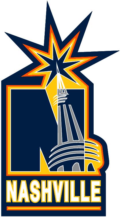 Nashville Predators Logo Alternate Logo (1998/99-2003/04) - Blue N with Gaylord Arena Tower over it SportsLogos.Net