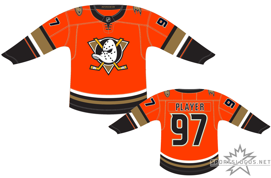 Anaheim Ducks Uniform Alternate Uniform (2019/20-Pres) - Ocassionally for home games the Anaheim Ducks have worn this orange uniform with black, gold, and copper trim. A combination of the original Mighty Ducks and modern Ducks, the uniform features the original Wild Wing duck-billed goalie mask logo on the chest now re-coloured to match the current Ducks colours. The Ducks first used this alternate third uniform for two seasons starting 2015, it was briefly retired in 2017 before returning during the 2019-20 NHL season. SportsLogos.Net