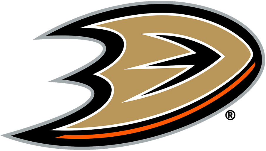 Anaheim Ducks Logo Primary Logo (2013/14-Pres) - The Anaheim Ducks primary logo is the letter D in gold with black, orange, and white accents and trim, the D is also designed to resemble the webbed foot of a duck. Originally designated as the Ducks alternate logo and eventually worn on their alternate jerseys, Anaheim finally promoted this logo to primary logo status in 2013-14. SportsLogos.Net
