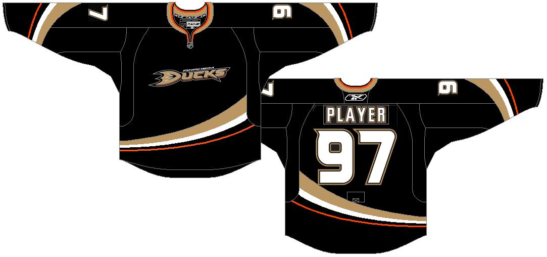 Anaheim Ducks Uniform Dark Uniform (2007/08-2013/14) - Ducks logo on a black uniform with stripes curving up SportsLogos.Net