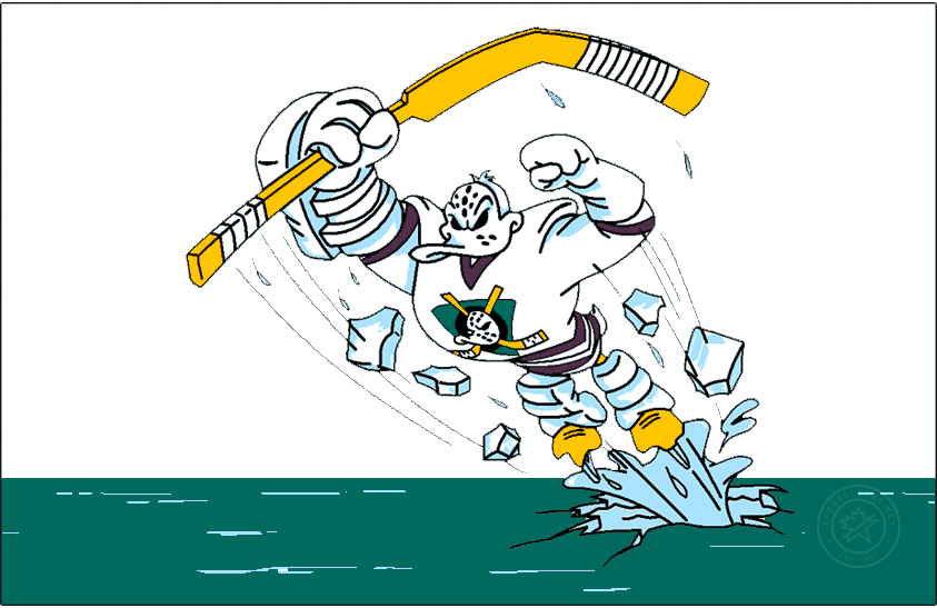 Anaheim Ducks Logo Special Event Logo (2020/21) - The Anaheim Ducks Reverse Retro logo, a throwback to the 1996 season and their infamous Wild Wing alternate uniform. The logo shows the Mighty Ducks mascot Wild Wing bursting out of the ice holding a hockey stick, the logo has been recolored slightly to display better on a white jersey versus the original jade green uniform on which it appeared. SportsLogos.Net