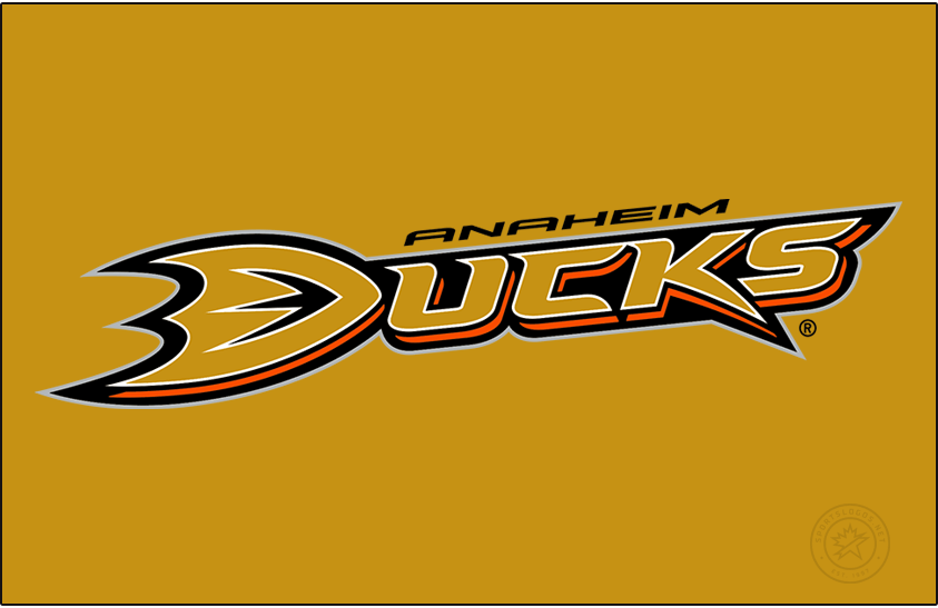 Anaheim Ducks Logo Primary Dark Logo (2006/07-2009/10) - After dropping the Mighty from their name in 2006, the Anaheim Ducks introduced this wordmark style logo (shown here on gold) as their new primary for the 2006-07 season. The logo features Ducks written out in gold with orange, black, and white trim with the D in Ducks shaped like the webbed foot of a duck. The new look gave the team good luck, they won the Stanley Cup in their first year using it. SportsLogos.Net