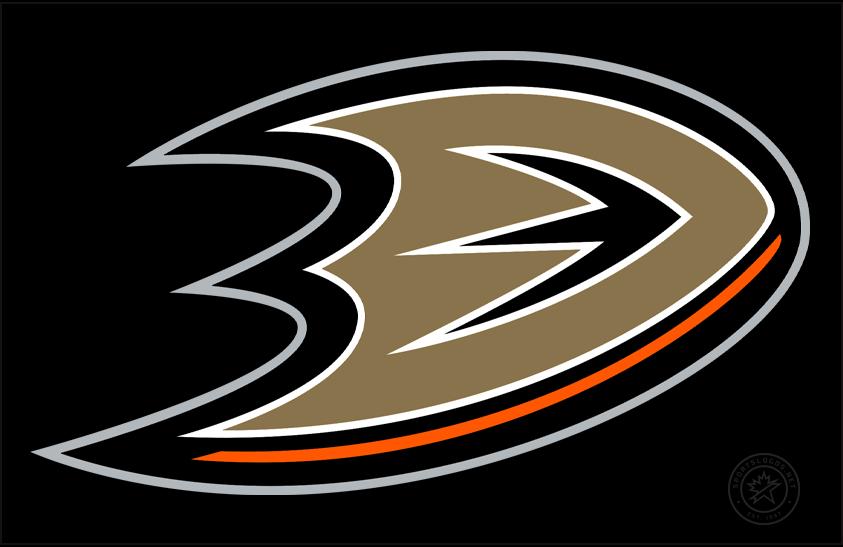 Anaheim Ducks Logo Jersey Logo (2010/11-Pres) - Webbed bronze duck foot in shape of a D, worn on Anaheim Ducks black alternate jersey from 2011-2014 and on their black home jersey starting with 2014-15 season SportsLogos.Net