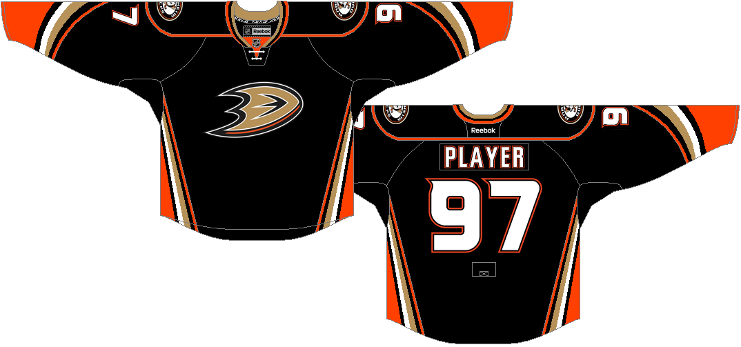 Anaheim Ducks Uniform Dark Uniform (2015/16-2016/17) - Ducks make a very minor alteration to their new home jerseys, by changing the collar laces from black to white for 2015-16 season.  SportsLogos.Net