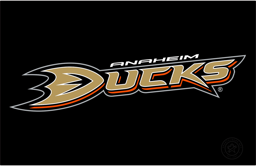 Anaheim Ducks Logo Primary Dark Logo (2010/11-2012/13) - After dropping the Mighty from their name in 2006, the Anaheim Ducks introduced this wordmark style logo (shown here on black) as their new primary for the 2006-07 season. The logo features Ducks written out in gold with orange, black, and white trim with the D in Ducks shaped like the webbed foot of a duck. In 2010 the Ducks changed the flat display colour of the gold used on this logo to better match the metallic thread used on their uniforms. SportsLogos.Net