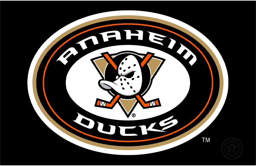 Anaheim Ducks Logo Alternate Logo (2010/11-Pres) - When the Ducks introduced their new alternate uniform for the 2010-11 season, a familiar but new logo graced the shoulders of the jersey. The original Mighty Ducks logo from 1993 was brought back, re-coloured to match the modern black and gold look, and placed inside a black circle with the team name around it. Logo is shown here on a black background SportsLogos.Net