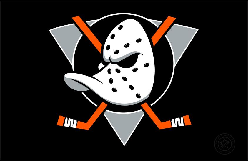 Anaheim Ducks Logo Jersey Logo (2018/19) - Original Mighty Ducks logo now on black with hockey sticks re-coloured orange to match modern Ducks colours. Worn on Anaheim Ducks third jersey for 25th anniversary season in 2018-19 SportsLogos.Net