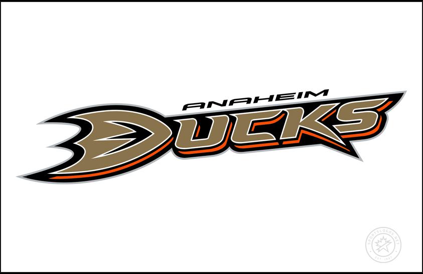 Anaheim Ducks Logo Jersey Logo (2006/07-2013/14) - DUCKS across a white jersey in bronze, ANAHEIM above in white. Worn on Anaheim Ducks road white jersey from 2007 to 2014 SportsLogos.Net