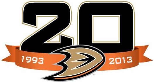 Anaheim Ducks Logo Anniversary Logo (2013/14) - 20th Anniversary logo SportsLogos.Net