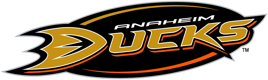 Anaheim Ducks Logo Alternate Logo (2006/07-2009/10) - Used sparingly, officially as an alternate logo, this design placed the Anaheim Ducks primary logo, the team's name in gold and black lettering, directly onto a black oval. First adopted for the 2006-07 NHL season, this logo was at one time used on-ice on the side of player helmets. Note that the Ducks adjusted the shade of gold they used for print and digital logos for the 2010-11 season. SportsLogos.Net