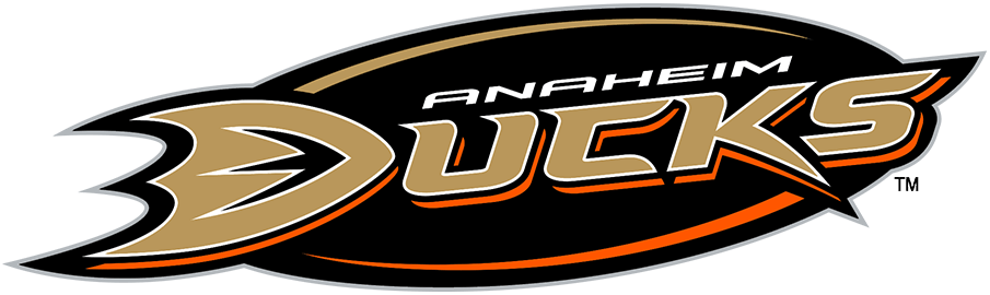 Anaheim Ducks Logo Alternate Logo (2010/11-Pres) - Used sparingly, officially as an alternate logo, this design placed the Anaheim Ducks primary logo, the team's name in gold and black lettering, directly onto a black oval. First adopted for the 2006-07 NHL season, this logo was at one time used on-ice on the side of player helmets. Note that the Ducks adjusted the shade of gold they used for print and digital logos for the 2010-11 season. SportsLogos.Net