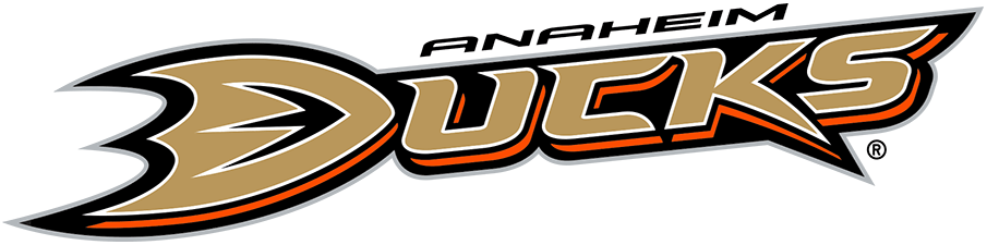 Anaheim Ducks Logo Primary Logo (2010/11-2012/13) - After dropping the Mighty from their name in 2006, the Anaheim Ducks introduced this wordmark style logo as their new primary for the 2006-07 season. The logo features Ducks written out in gold with orange, black, and white trim with the D in Ducks shaped like the webbed foot of a duck. In 2010 the Ducks changed the print colour of the gold used on this logo to better match the metallic thread used on their uniforms. SportsLogos.Net