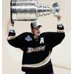 Anaheim Ducks (2007) Chris Pronger wearing Anaheim Ducks home black uniform with 2007 Stanley Cup Final while celebrating the Ducks championship during 2006-07 season