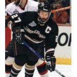 Anaheim Ducks (2007) Scott Niedermayer wearing Anaheim Ducks home black uniform with Stanley Cup patch during 2007 Stanley Cup Finals