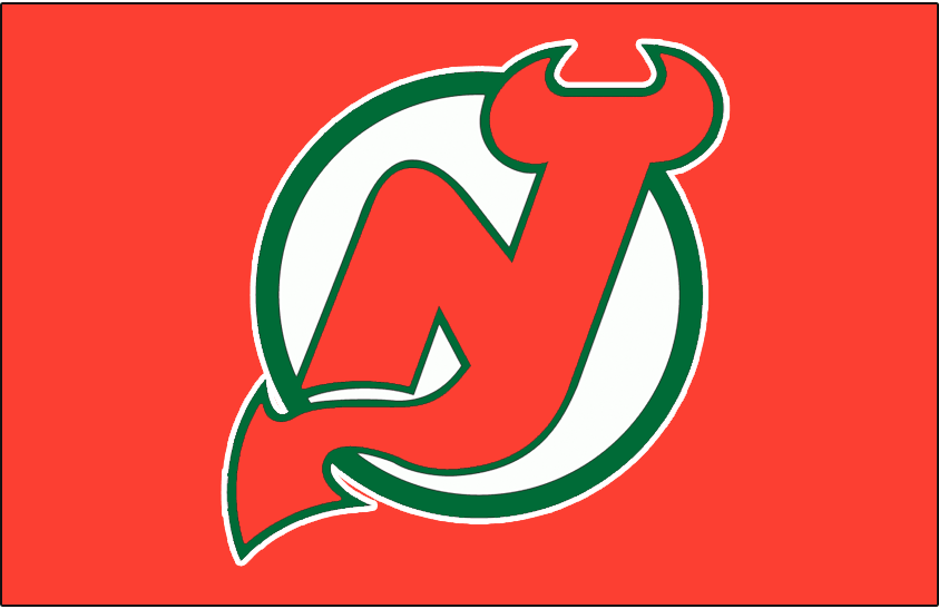 New Jersey Devils Logo Jersey Logo (1982/83-1985/86) - Worn on New Jersey Devils road red jersey from 1982-83 until 1985-86 SportsLogos.Net