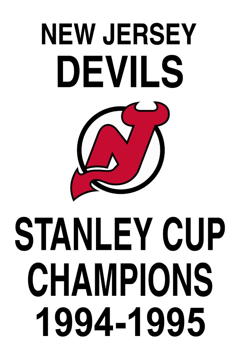 New Jersey Devils Championship Banner Championship Banner (1994/95) - New Jersey Devils 1995 Stanley Cup Champions Banner SportsLogos.Net