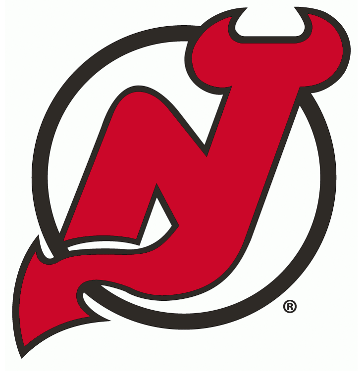 New Jersey Devils Logo Primary Logo (1999/00-Pres) - Red N and J combined together with devil horns and a tail on a black circle -- shade of red slightly altered between 1998-99 and 1999-2000 season SportsLogos.Net