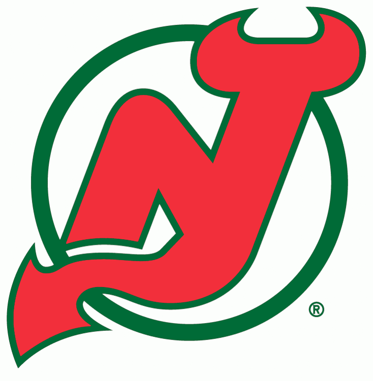 New Jersey Devils Logo Primary Logo (1986/87-1991/92) - An N and J combined together in red on a green circle - shade of red darkened prior to 1987 season SportsLogos.Net