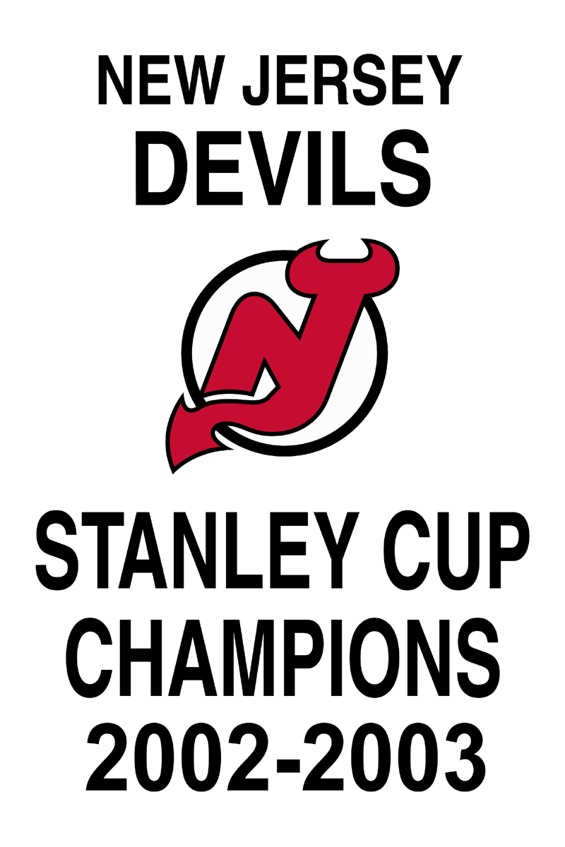 New Jersey Devils Championship Banner Championship Banner (2002/03) - New Jersey Devils 2003 Stanley Cup Champions Banner SportsLogos.Net