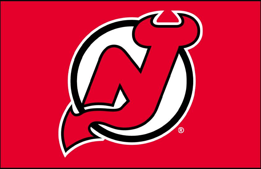 New Jersey Devils Logo Primary Dark Logo (1992/93-1998/99) - New Jersey Devils primary logo on red SportsLogos.Net