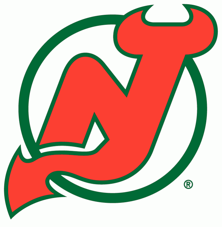 New Jersey Devils Logo Primary Logo (1982/83-1985/86) - An N and J combined together in red on a green circle SportsLogos.Net