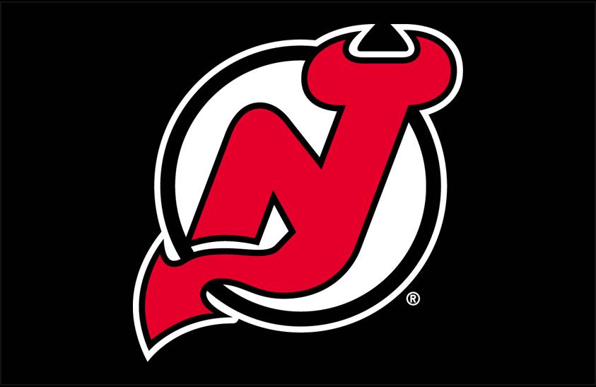 New Jersey Devils Logo Primary Dark Logo (1992/93-1998/99) - New Jersey Devils primary logo on black SportsLogos.Net