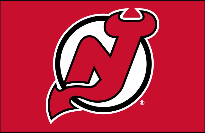 New Jersey Devils Logo Primary Dark Logo (1999/00-Pres) - New Jersey Devils primary logo on red SportsLogos.Net