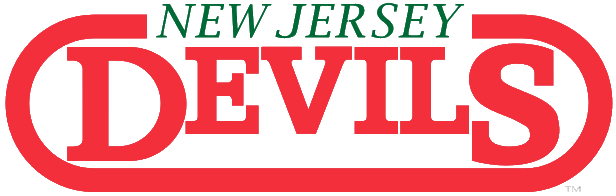 New Jersey Devils Logo Wordmark Logo (1981/82-1989/90) - Script used by the Devils' since moving from Colorado. More information welcome.  SportsLogos.Net