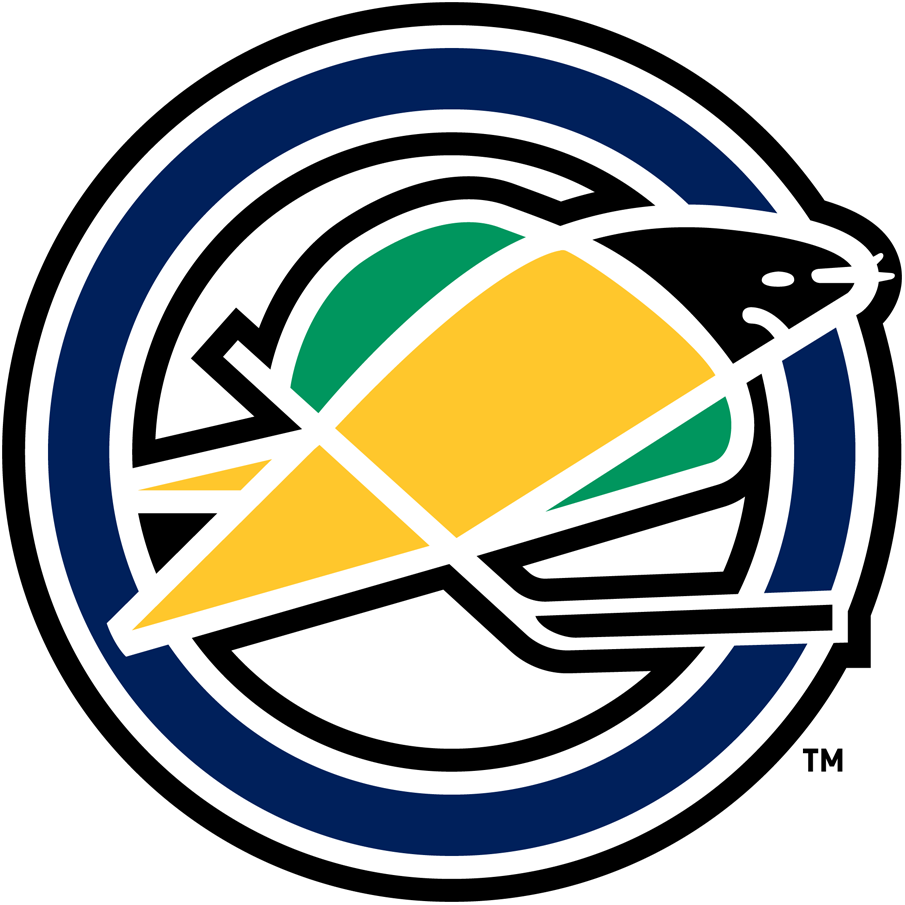 Oakland Seals Logo Primary Logo (1967/68-1969/70) - Yellow and green seal holding a hockey stick on a blue O SportsLogos.Net