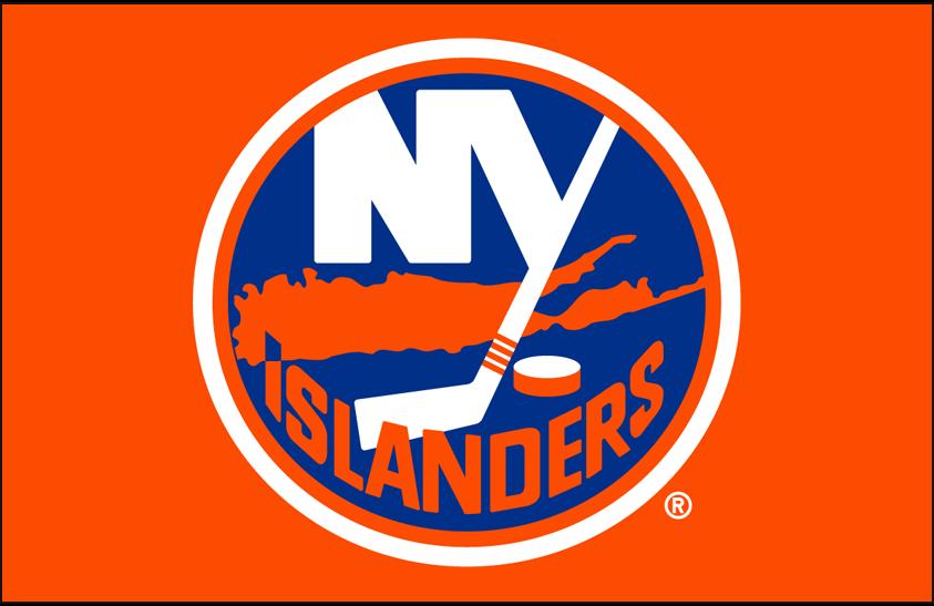 New York Islanders Logo Primary Dark Logo (2010/11-Pres) - New York Islanders primary logo on orange SportsLogos.Net