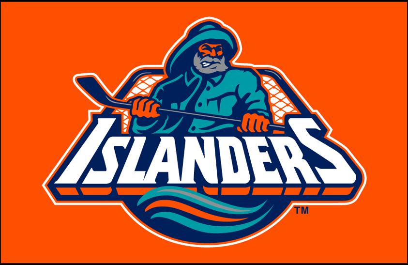 New York Islanders Logo Primary Dark Logo (1995/96-1996/97) - New York Islanders primary fisherman-style logo on orange SportsLogos.Net