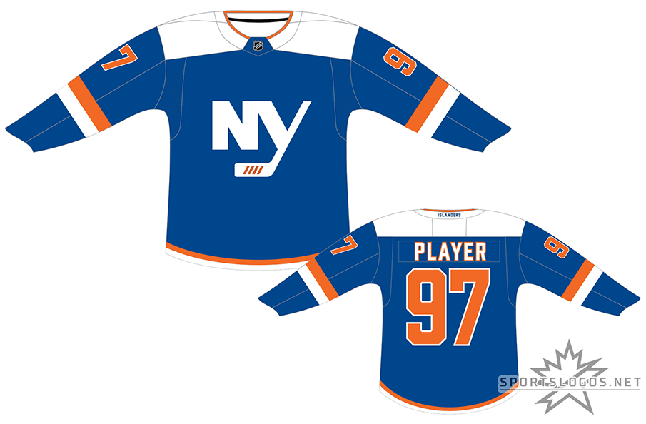 New York Islanders Uniform Alternate Uniform (2018/19-Pres) - Blue jersey with white shoulders, NY logo on front in white SportsLogos.Net
