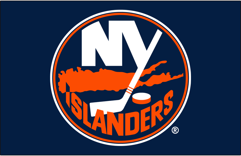 New York Islanders Logo Primary Dark Logo (1998/99-2009/10) - New York Islanders primary logo on blue SportsLogos.Net