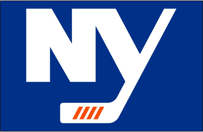 New York Islanders Logo Jersey Logo (2018/19-Pres) - NY in white on royal blue, four diagonal lines on the blade of the stick represent four Stanley Cup championships SportsLogos.Net