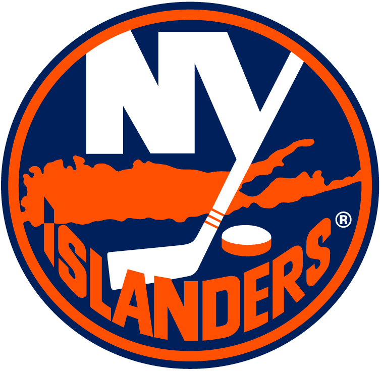 New York Islanders Logo Primary Logo (1997/98) - NY in white in a blue circle with a map of Long Island below in orange. Temporary one-year-only logo created to quickly replace the infamous Fisherman logo in 1997-98 SportsLogos.Net